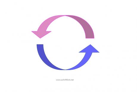 Zwei Pfeile, die gemeinsam einen Kreis bilden. Der eine ist hellrosa, der andere mittelblau